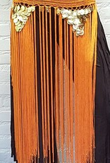 Orange hip scarf with long fringes and gold coins