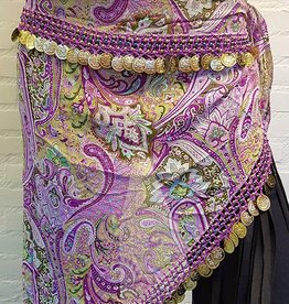 Hip scarf triangle lilac with gold coins