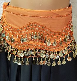 Hip scarf orange with gold coins
