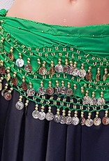 Hip scarf green with gold coins