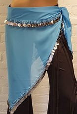 Hip scarf triangle turquoise with silver coins