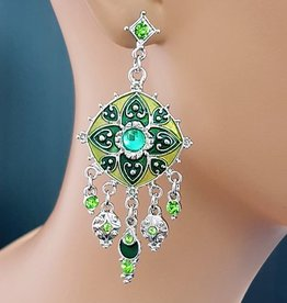 Green/silver earrings with rhinestones