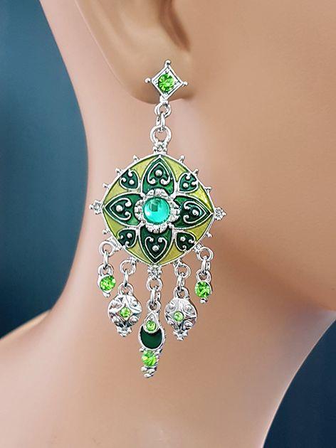 Green/silver earrings with rhinestones