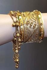 Gold clasp bracelet  with little bells
