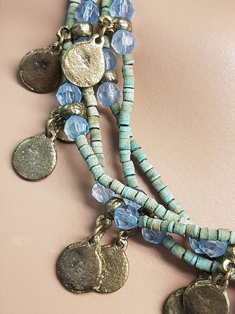 Necklace with green/blue wooden beads and old coins