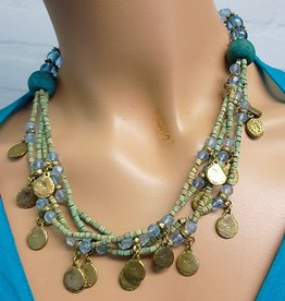 Necklace with green/blue beads and old coins