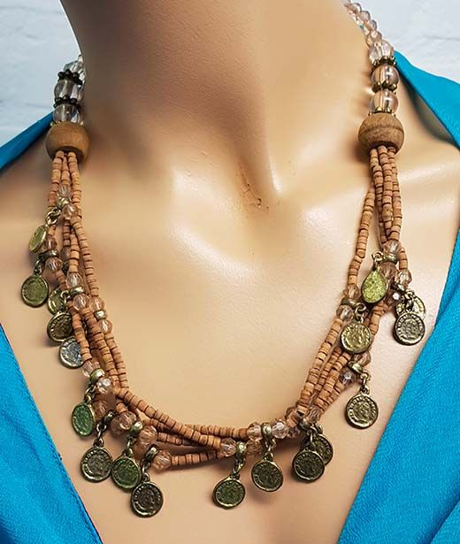 Brown necklace with old coins