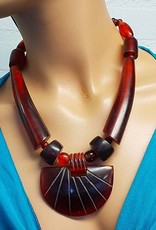 Halskette Kunsharz bordeaux