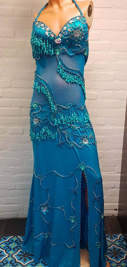 Belly dance dress in turquoise