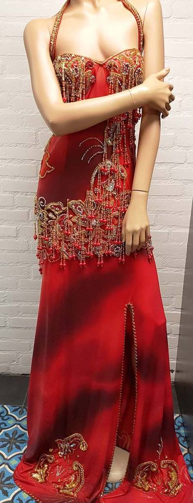 Beaded belly dance dress in red