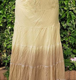Batik cotton skirt in khaki green