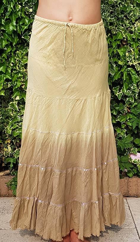 Baumwollrock mit Batikverlauf khaki