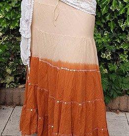 Sakkara Baumwollrock mit Batikverlauf kupfer