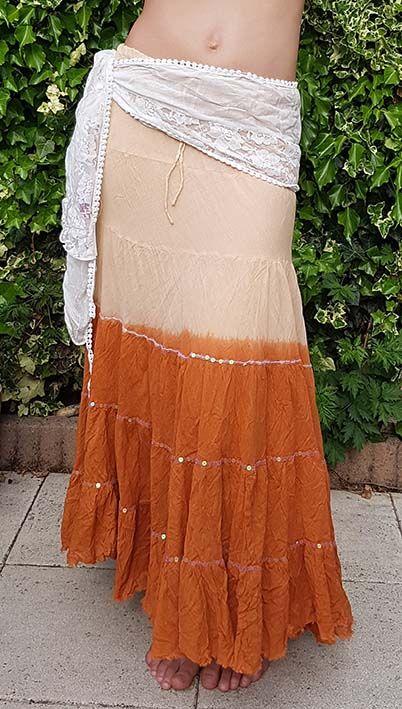 Batik cotton skirt in copper