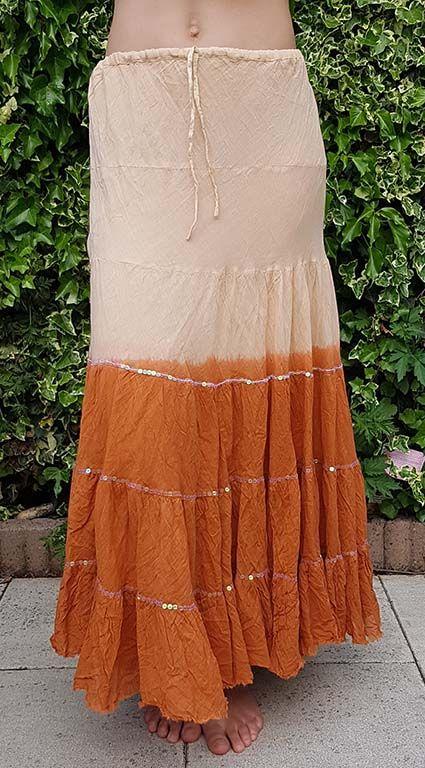 Baumwollrock mit Batikverlauf kupfer