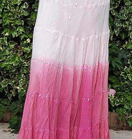 Sakkara Baumwollrock mit Batikverlauf rosa