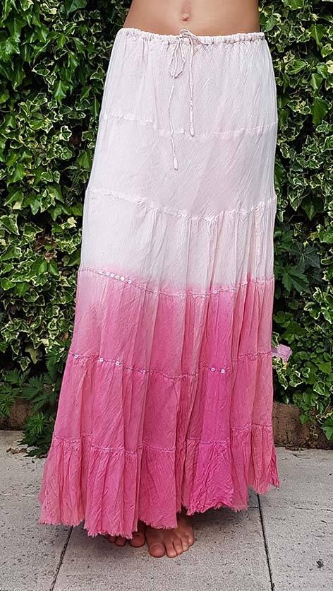 Baumwollrock mit Batikverlauf kupfer rosa
