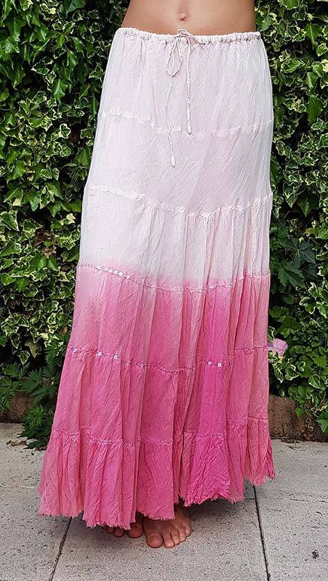 Sakkara Baumwollrock mit Batikverlauf kupfer rosa