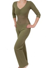 Belly dance catsuit with three-quarter Power mesh