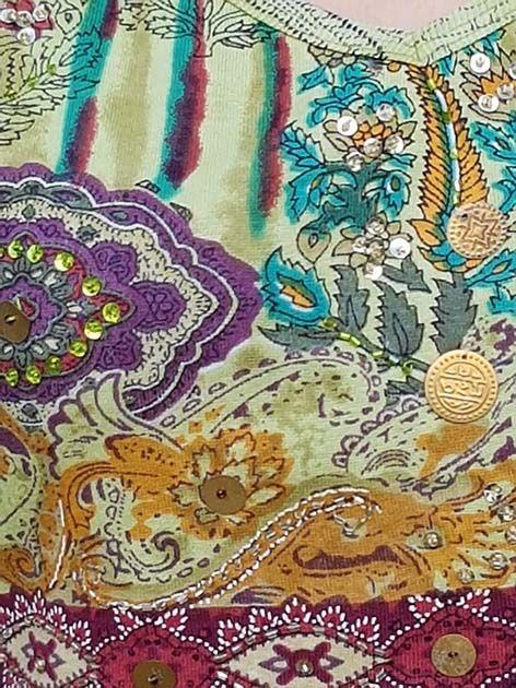 Ärmelloses Flowerprint-Shirt grün-meliert