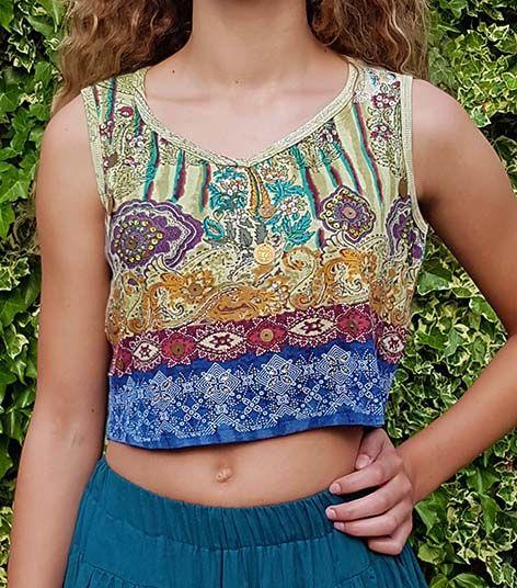 Flower print batik shirt green/blue