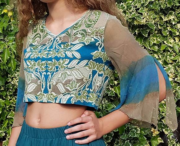 Shirt blue/oliv green with see through arms