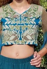 Print-Shirt mit geschlitzten Ärmeln