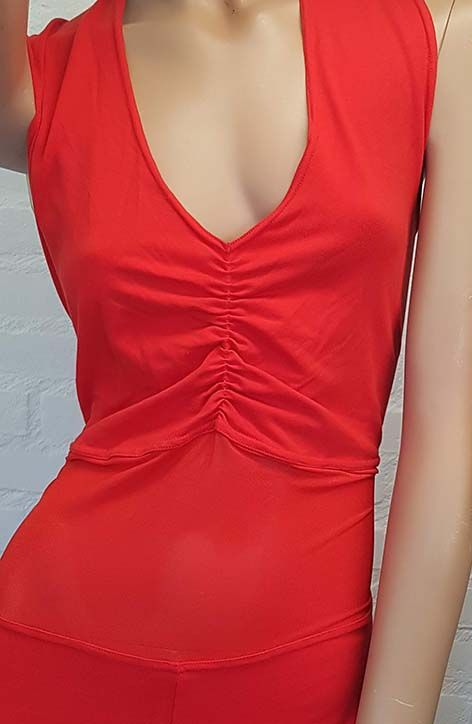 Belly dance catsuit sleeveless in red