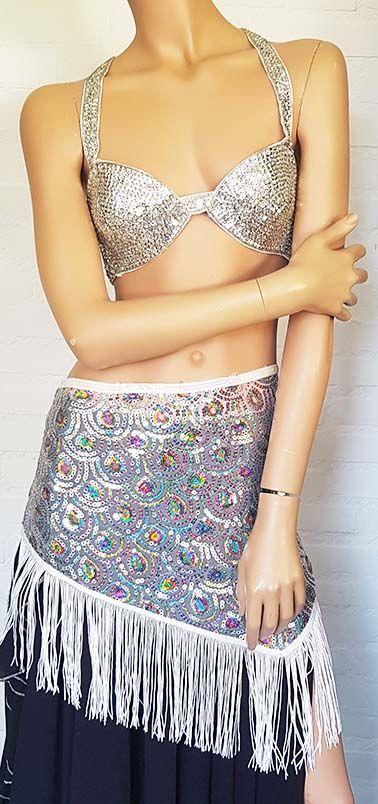 Sequin bra in silver