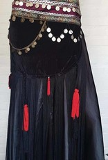 Tribal Samt Bauchtanz Hüfttuch in schwarz