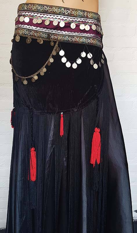 Velvet belly dance hip scarf in black