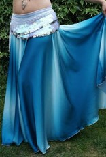 Belly dance skirt with gradient color white/turquoise