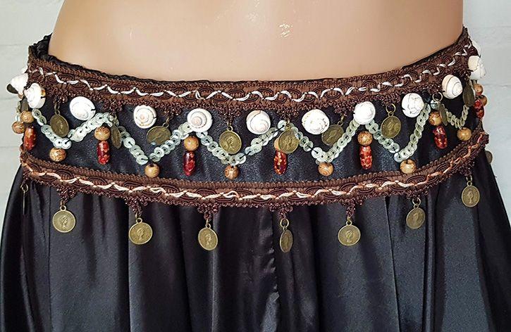 Sakkara Tribal Set schwarz/braun mit Münzborten, paillettenbestickt