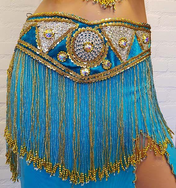 Belly dance costume lightblue/gold
