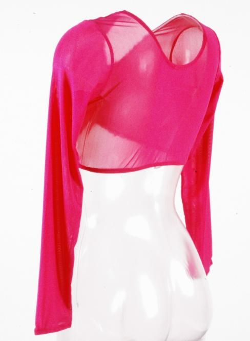 Net top with long arms in fuchsia
