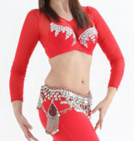 Net top with long arms in red