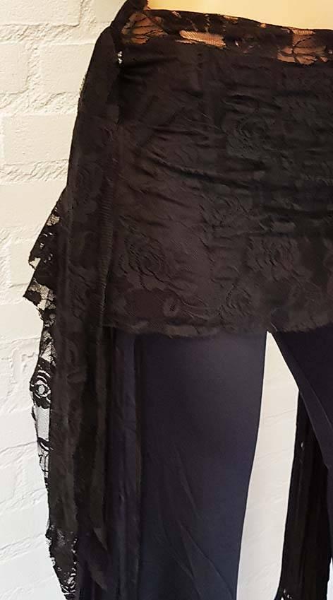 Black lace hip scarf