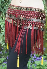 Tribal hip scarf with fringes in bordeaux