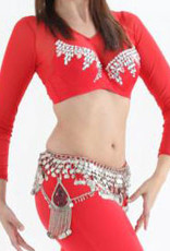 Belly dance  bra with big glass stones in red