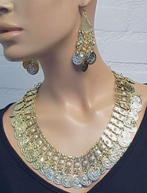 Sakkara Kette mit Münzen in Gold mit Ohrringe