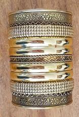 Wide gold clamp bracelet
