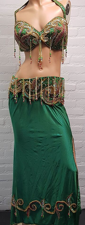 Belly dance costume in shiny green