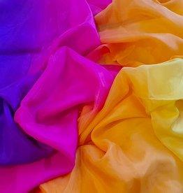 Neu! Bauchtanzschleier aus Seide in gelb orange fuchsia violett