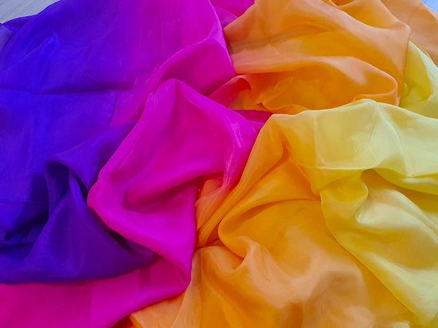 Silk veil in yellow orange fuchsia purple