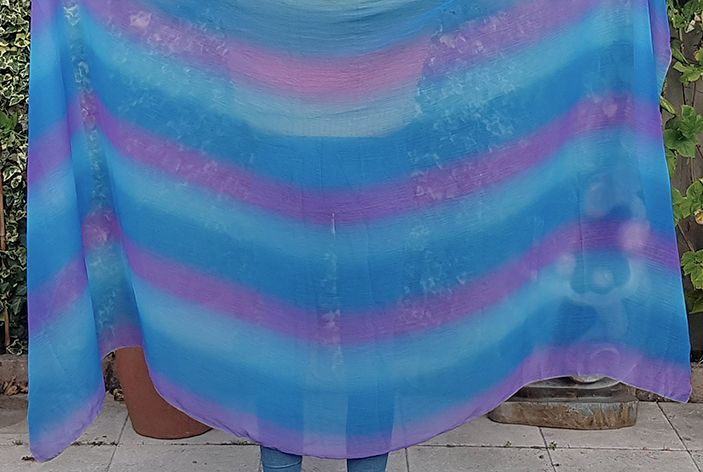 Veil in blue turquoise purple
