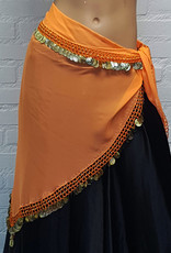 Hip scarf triangle orange with gold coins