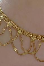 Fußrückenschmuck mit verstellbarem Ring  -  gold