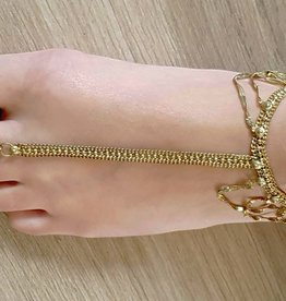 Ankle / foot bracelet gold with ring