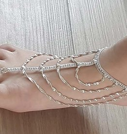 Ankle / foot bracelet with silver rows