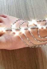 Fußrückenschmuck mit verstellbarem Ring - silber